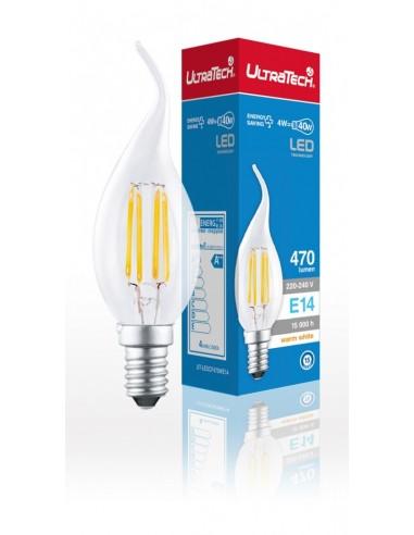 UltraTech  LED filament gyertya izzó hajlított E14  4 Watt 470 lume