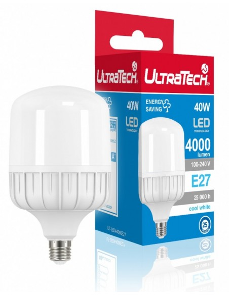UltraTech  LED normál izzó E27 40.0W 4000 lumen 4000K hidegfehér  25000 óra