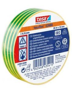 """Szigetelőszalag, 19 mm x 20 m, TESA """"Professional"""", zöld-sárga"""