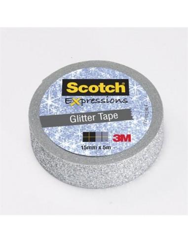 Ragasztószalag 15 mm x 5 m glitteres 3M SCOTCH Expression ezüst