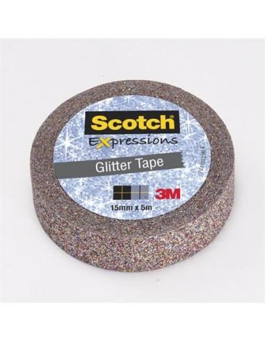 Ragasztószalag 15 mm x 5 m glitteres 3M SCOTCH Expression többszín