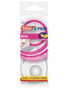 Ragasztószalag adagolóval 10 m x 19 mm írható TESA Tesafilm Neon vegyes színek