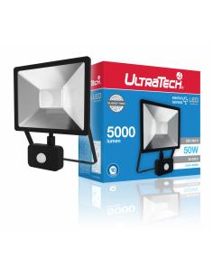 UltraTech  LED reflektor mozgás érzékelővel 50W fekete 4000K hidegfehér 5000 lumen  IP65 30000 óra FL5000BKPS
