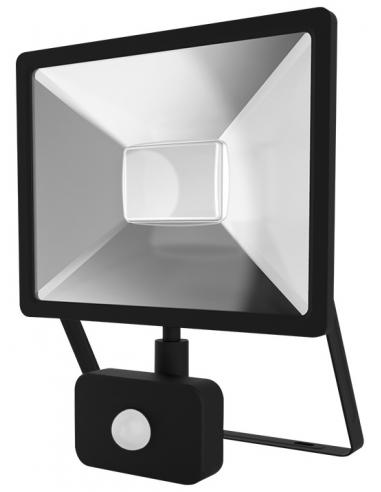 UltraTech  LED reflektor mozgás érzékelővel 30W fekete 4000K hidegfehér 3000 lumen  IP44 30000 óra FL3000BKPS