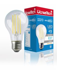 UltraTech  LED filament normál izzó E27  4 Watt 470 lumen 2700K melegfehér