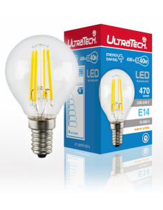 UltraTech  LED filament gömb izzó E14  4 Watt 470 lumen 4000K hidegfehér