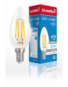UltraTech  LED filament gyertya izzó E14  4 Watt 470 lumen 4000K hidegfehér