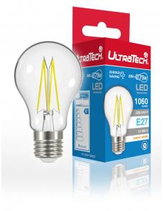 UltraTech  LED filament normál izzó E27  8 Watt 1060 lumen 4000K hidegfehér